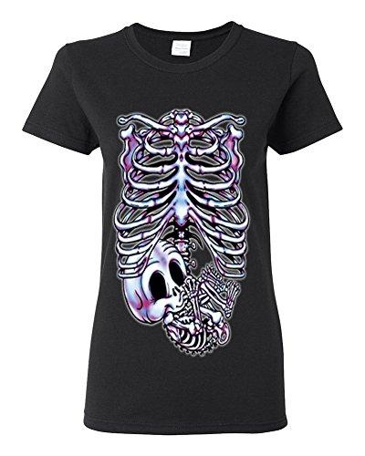 Lifestyle39 Skeleton Maternity Halloween Pregnancy Women's Shirt, Pregnant Skeleton Shirt, Skull Halloween Costume Black Small -