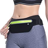 LENPOW Best Running Belt, Ultra Light Bounce Free Waist Pouch Workout Sport Pack Exercise Bag Top Fitness Zipper Pocket for iPhone X 8 7 6 Plus Samsung in Gym Marathon Cycling hiking climbing Sports