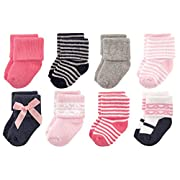 Luvable Friends Baby 8 Pack Newborn Socks, Pink Scroll, 0-6 Months