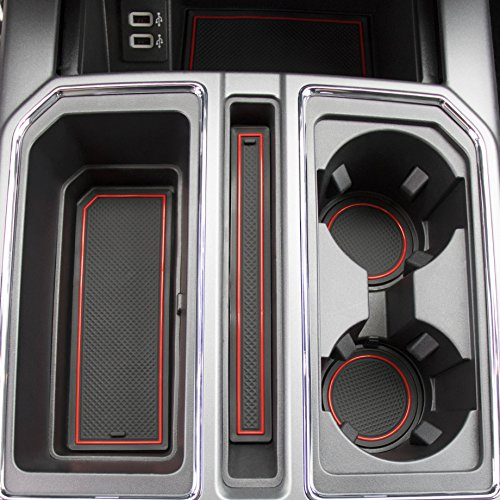 CupHolderHero for Ford F-150 2017-Present Custom Fit Cup Holder, Door, and Center Console Liner Accessories 28-pc Set (F150 SuperCrew) (Red Trim)