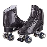Cal 7 Sparkly Roller Skates for Indoor & Outdoor Skating, Faux Leather Quad Skate with Ankle Support & 83A PU Wheels for Kids & Adults (Black, Youth 6 / Men's 6 / Women's 7)
