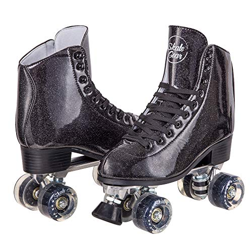 C SEVEN Skate Gear Sparkly Retro Quad Roller Skates (Glitter Black, Men's 9 / Women's 10)