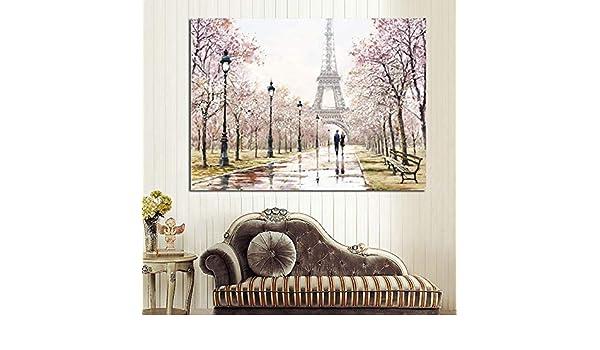 tzxdbh Ciudad romántica Pareja París Torre Eiffel Paisaje Pintura al óleo Abstracta sobre Lienzo Impresión de póster Imagen de Pared para Sala de Estar de Gro 60x80cm Sin Marco con Marco: Amazon.es: