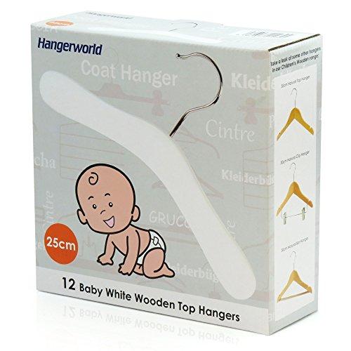 HANGERWORLD 12 White 9.8inch Wooden Kids Coat Clothes Garment Top Baby Toddler Hangers Metal Swivel Hook