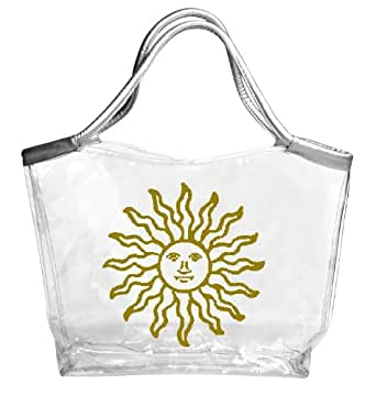 Amazon Com Large Clear Tote Bag With Silver Handles Sun Logo Clothing