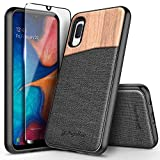 Galaxy A10E Case with Tempered Glass Screen Protector (Full Coverage), NageBee Premium Natural Wood Canvas Fabrics Armor Defender Dual Layer Shockproof Hybrid Case for Samsung Galaxy A10E -Wood