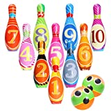 Skittles Pins Kids Bowling set, iBaseToy Bowling Game, Foam Ball Toys Gifts Funny Preschool Indoor Outdoor Bowling Games For Early Development/Sport Toys for Children/Toddlers/Boys/Girls (10 Pins & 2 Bowling Balls)