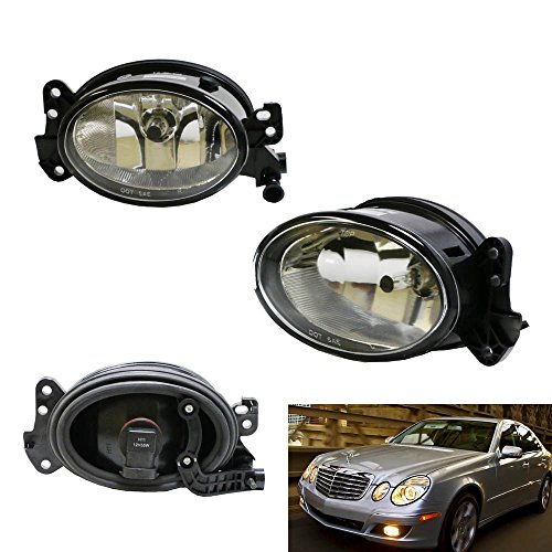 iJDMTOY One Pair Driver Passenger Sides Fog Light Lamps w/H11 Halogen Bulbs For Mercedes-Benz C E R CLS ML Class, etc (OEM# 1698201556) (Fog Lamp Euro Light Clear)