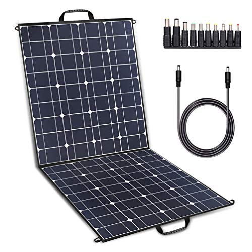 TWELSEAVAN 100W Solar Panel Foldable Portable Solar Charger for Jackery Explorer 160/240/500 Power Station/Suaoki/Goal Zero Yeti/Rockpals/Kyng Power Solar Generator, 12V Battery, with Dual USB Ports
