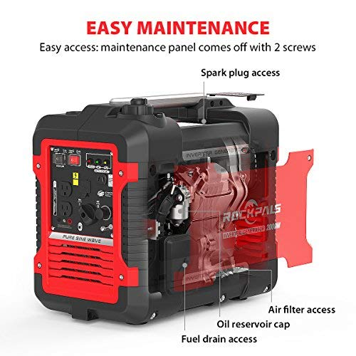 Rockpals 2000-Watt Super Quiet Inverter Generator, 9 Hours Time Portable Camping Gas Power Generator, CARB Compliant With Eco-Mode, Parallel Ready, Dual 120V AC Outlet, 2 USB Ports, 12V DC Output