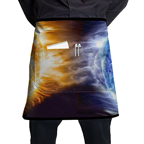 Waist Short Apron Half Chef Apron With Pockets Fire Ice Planet Print Home Kitchen Cooking Pinafore For Bistro Restaurant Cafe Pub BBQ Grill -