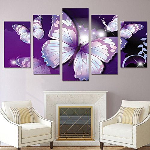 Garth Canvas Print HD Printed Purple Butterfly Painting Room Decor Print Poster Picture Canvas -