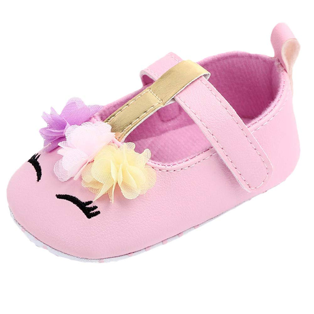 NUWFOR Cute Baby Girls Newborn Infant Cartoon Floral Casual First Walker Toddler Shoes(Pink,6-9Months)