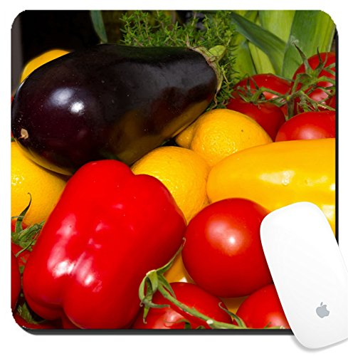 Luxlady Suqare Mousepad 8x8 Inch Mouse Pads/Mat design IMAGE ID 21566862 paprika tomatoes aubergines
