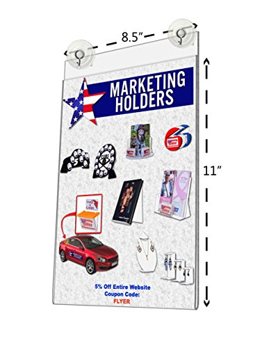 Marketing Holders Window Mount Ad Frame Sign Holder 8.5 x 11 Inch with 2 Suction Cups with Hooks (Lot of 25) by Marketing Holders