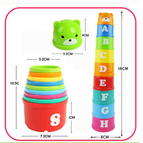 MAZIMARK--1 Set Baby Children Kids Educational Toy Figures Letters Folding Cup Pagoda GOCG by MAZIMARK