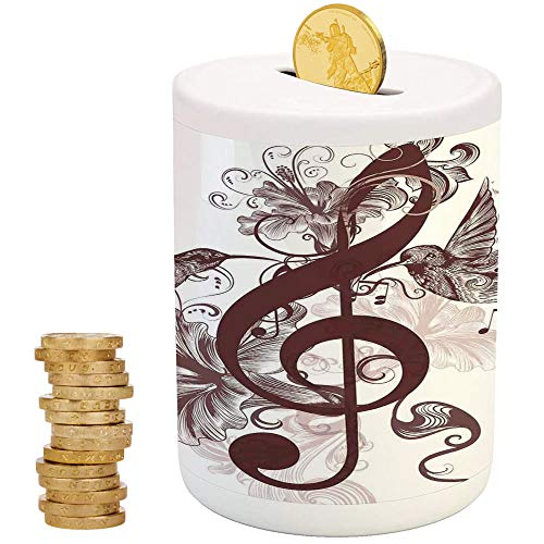 Music,Ceramic Girls Bank,Printed Ceramic Coin Bank Money Box for Cash Saving,Cute Floral Design with Treble Clef and Singing Flying Birds Sparrows Art