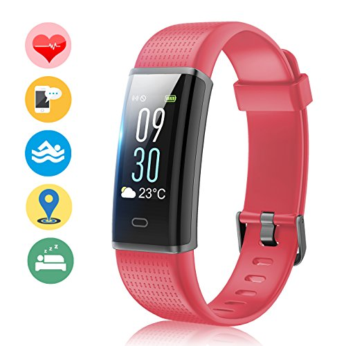 Vigorun Fitness Tracker Color Screen, Activity Tracker with Heart Rate Monitor Watch, IP68 Waterproof, Sleep Monitor, Step Calorie Counter, Pedometer Wristband for Women Men Kids (Red)