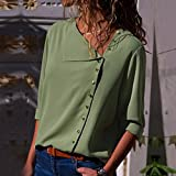 Womens Casual Lapel Neck T-Shirt Ladies Long Sleeve Buckle Blouse Tops GN/S