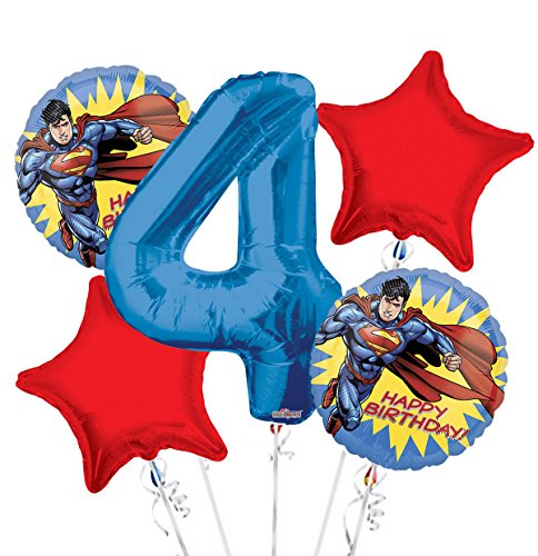(Superman Balloon Bouquet 4th Birthday 5 pcs - Party)