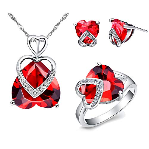(Uloveido Created Red Ruby Heart Pendant Necklace July Birth Stone Stud Earrrings and Love Ring Silver Color Bridal Wedding Engagement Jewelry Sets for Women Girl Mom (Red, Size 7))