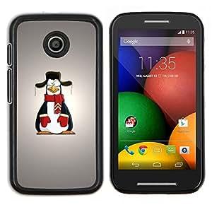Caucho caso de Shell duro de la cubierta de accesorios de protección BY RAYDREAMMM - Motorola Moto E - Arte Historieta del pingüino Dibujo nieve bufanda Outfit