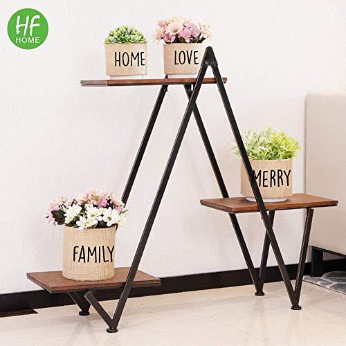 3-Tier Flower Metal Plant Stand, HFHOME Triangular Wood Shelf Step Design, Ideal Flower Pot Holder for Home, Garden, Patio, Plant Lovers, Housewarming, Black (Garden Pots Patio)