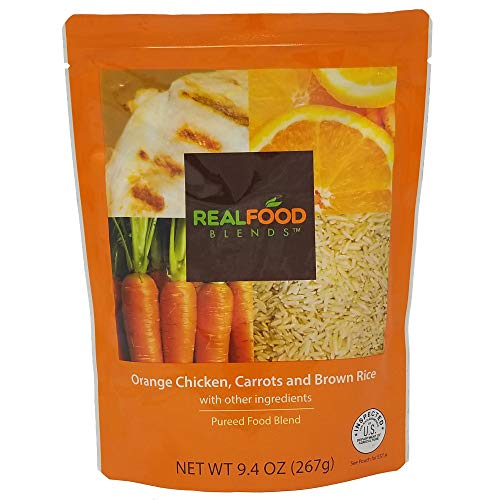 Real Food Blends Orange Chicken, Carrots & Brown Rice Pureed Blended Meal, 9.4 oz Pouch (Pack of 12 Pouches) ()