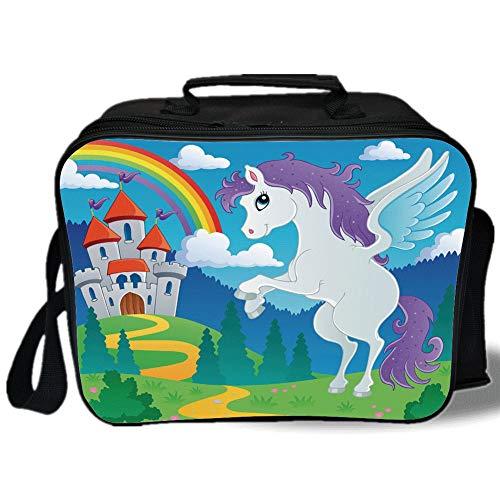 Kids Decor 3D Print Insulated Lunch Bag,Fantasy Myth Unicorn with Rainbow and Medieval Castle Fairy Tale Cartoon Design,for Work/School/Picnic,Multicolor]()