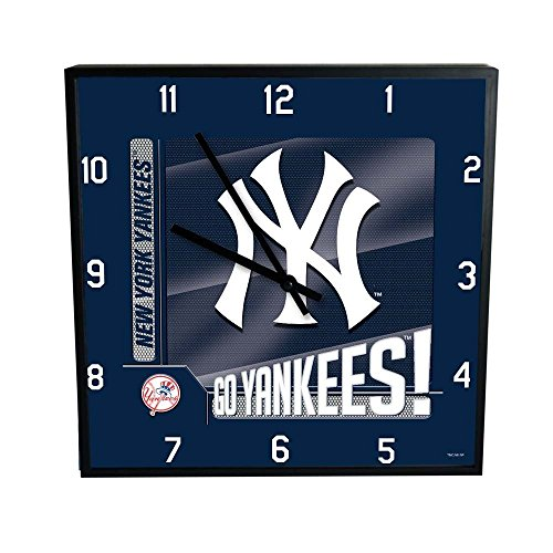 """The Memory Company MLB New York Yankees Go Team! 12"""" Square Clock, One Size, Multicolor"""