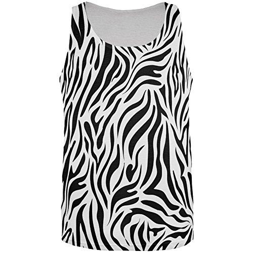 Zebra Print Sublimated White All Over Adult Tank Top - Medium - Zebra Tank Dress