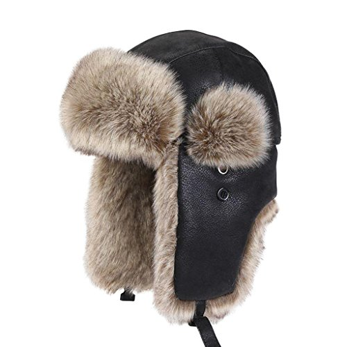 LETHMIK Winter Faux Fur Hunting Hat Unisex Trapper Russian Aviator Trooper Hat Black & Beige small - Russian Hat Ushanka Women