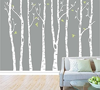 Attractive 8 Birch Tree Wall Stickers For Living Room White Tree Wall Decal Stickers  Nursery For Girls