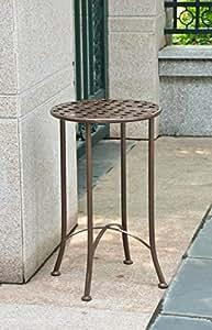 16en. Patio de hierro mesa auxiliar (marrón)