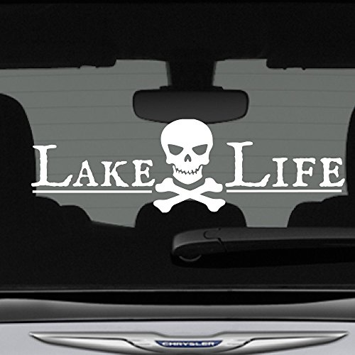 CrafteLife Lake Life Decal Bumper Sticker Pirate Skull Crossbones | 12 in x 3 in | Fits Cars Trucks SUVs Boats Motorcycles More | Premium Vinyl Graphics Made in USA (White)