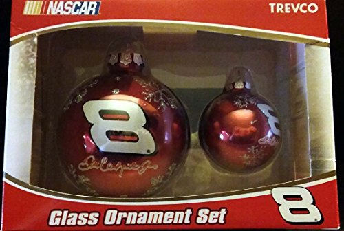 Trevco NASCAR #8 Dale Earnhardt Glass Ornament Set