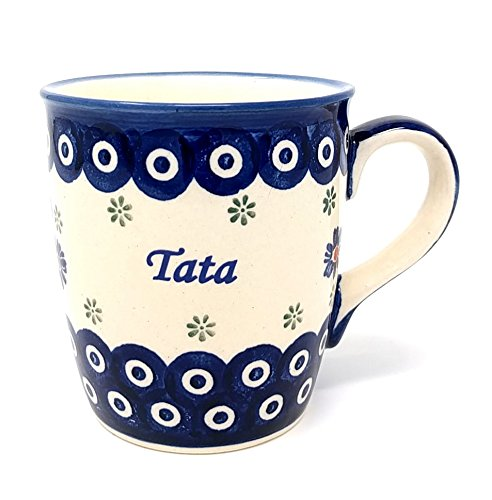 Tata - Dad Mug from Polish Pottery - Blue Eye with Flowers