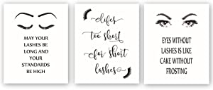 """Unframed Fashion Print,Fashion Women Art Print,Lashes Eyes Eyebrows Printing With Motivational quotes Art Painting,Set of 3(8"""" x10"""")Canvas Poster,Excellent Gift For Girls Women Bedroom"""
