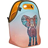 Neoprene Lunch Bag by ART OF LUNCH - Artist Monika Strigel (Germany) and Art of Liv'n have Partnered in Adopting an Orphaned Elephant and Giraffe through the David Sheldrick Wildlife Trust - Elephant