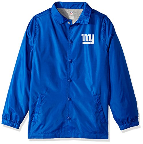 Outerstuff NFL Youth Boys Bravo Coaches Jacket-Royal-XL(18), New York Giants - New York Giants Blue Coaches