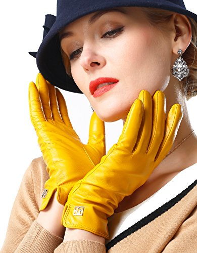 NappaNovum Womens Italian Leather Gloves Lambskin Winter Comfort Gloves (Touchscreen or Non-Touchscreen)