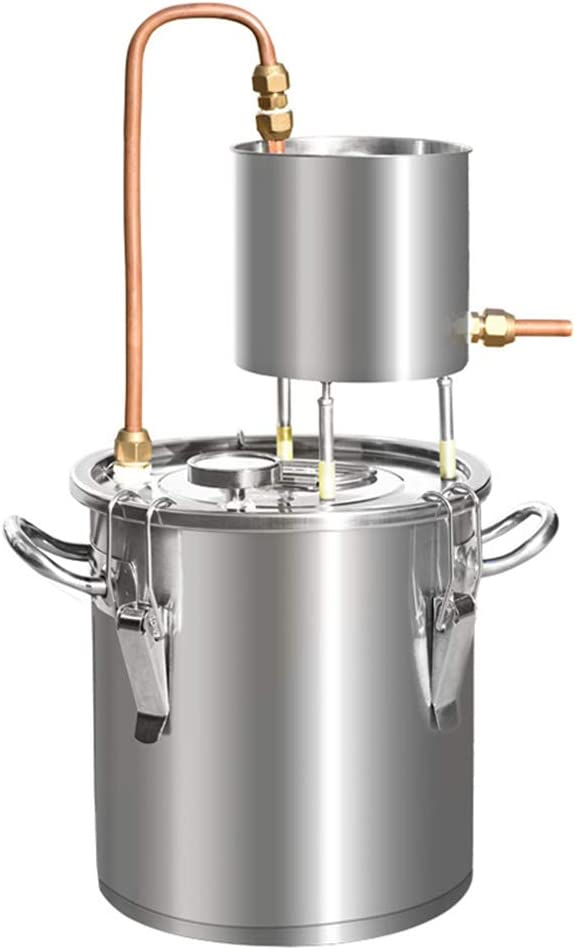 CARACHOME Destilador de Alcohol de 12/20/33/50 L, Kit de elaboración de Aceite Esencial de Vino de Agua para el hogar DIY, Alcohol de Alcohol Ilegal, condensación de Cobre Rojo Inoxidable
