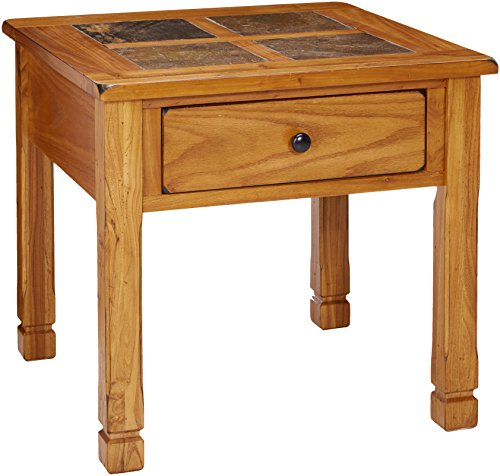 (Progressive Furniture Rustic Ridge Lamp Table, Light Oak/Slate)