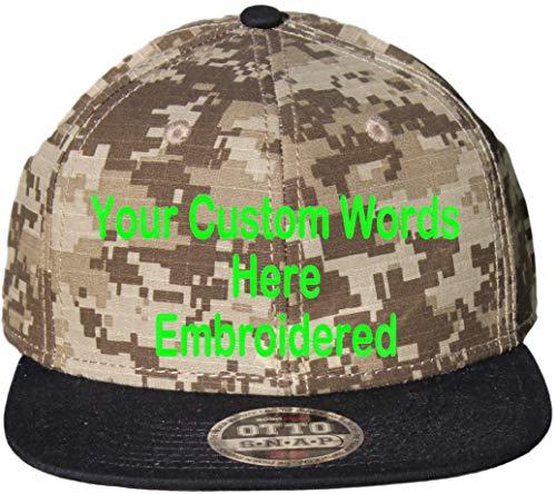 Custom Snapback Hat. Otto. Embroidered. Your Own Text Flatbill Bill Snapback. (Black Bill/Khaki Digital ()