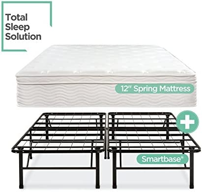 Night Therapy Spring 12 Inch Euro Box Top Mattress and SmartBase Complete Set, Full