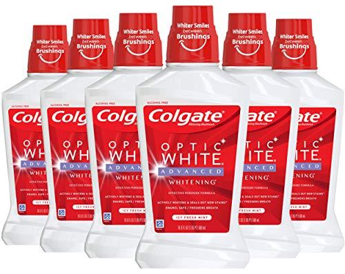 Colgate Optic White Whitening Mouthwash, 2% Hydrogen Peroxide, Icy Fresh Mint – 473mL, 96 Fl Oz (Pack of 6)