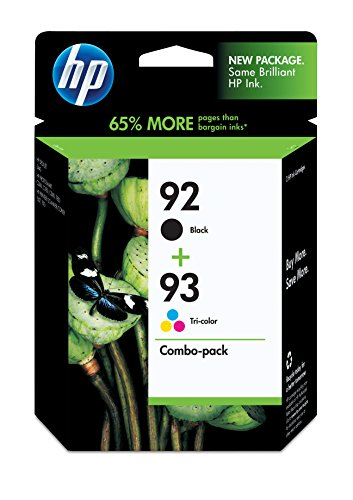 HP 92 Black & 93 Tri-color Original Ink Cartridges, 2 Cartridges (C9361WN, C9362WN) (C9362wn Ink Black)