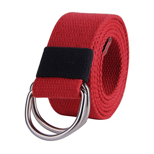 JINIU Canvas Belt Military Style D RING Buckle solid color 1.5' wide CAB2 RED 55'Long