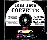 FULLY ILLUSTRATED 1968 1969 1970 1971 1972 CORVETTE FACTORY ASSEMBLY INSTRUCTION MANUAL CD - ALL MODELS INCLUDING; C-3, Sting Ray, Stingray, Coupe, Hardtop, Convertible - VETTE