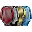 "Carter's Baby Boys' ""All Stripe"" 4-Pack L/S Bodysuits - red/multi, newborn"